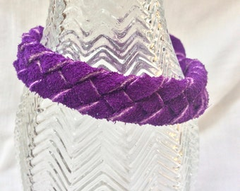 Leather bracelet/purple suede cowhide/five-thonged fold over weave