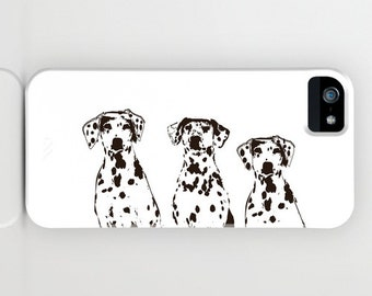 Three Dalmatian Dogs on Phone Case - black and white,   pet dog,Dalmatian , iPhone 6S, iPhone 6 Plus, Gifts for Pet Lovers, iPhone 8