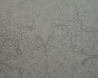 Vintage 1970s Gift Wrap Silver Filagree Wedding Wrapping Paper--2 Sheets