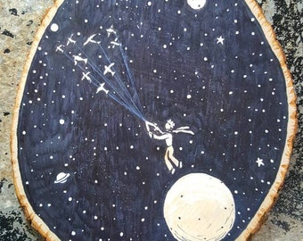 Catchin a ride- hand painted wooden plaque  The little prince