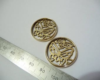 Set of two brass 25 mm Butterfly charms