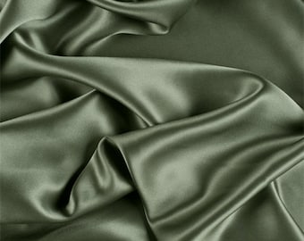 Dark Sage Silk Charmeuse, Fabric By The Yard
