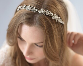Floral Bridal Headband, Antique Bridal Headpiece, Vintage Wedding Headband, Crystal Rhinestone Headband, Crystal Wedding Headband ~TI-3169