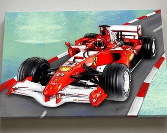 Race Car Nursery Canvas Art, Race Car Wall Hanging,  Baby Boys Room  Art Print