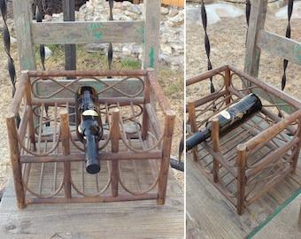 "Cool Vintage Bentwood Rattan Small 6 Bottle Wine Rack measuring 13.5"" x 9.5"" x 9.5"" ~ Bohemian Boho Home Decor ~ Eclectic Home Decor ~"
