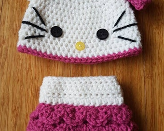 Crochet, Hello Kitty, Photo prop, MADE TO ORDER