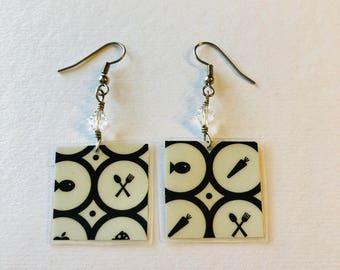 Geometric Print Recycled Magazine Earrings