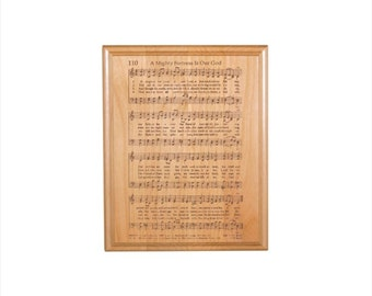 A Mighty Fortress Hymn Plaque - Engraved Solid Alder Wood - Christian Gift - Religious Wall Decor - Housewarming Gift