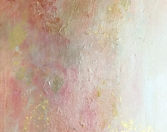 abstract painting/morning dew/pink and gold/acrylic / art / france