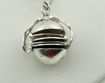 "Vintage Secret Sterling Silver Ball Folding Six Space Locket Pendant. With 16"" Silver Chain #BALLLOCKET6-LKT"
