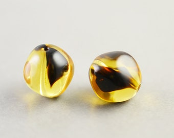 Brown Amber Beads, Glass 10mm Beads, Two, Pair