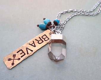 Brave Fierce Strong - Your Word Necklace Mantra Inspirational Empowerment -Hand Stamped Crystal Turquoise Your Word Custom - S240