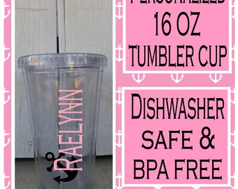 Personalized name on 16 oz tumbler cup Customized tumbler cup Monogram tumbler cups personalized cup with straw, BPA free, dishwasher safe