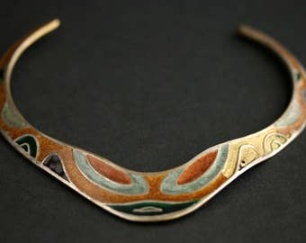 Vintage Choker Necklace. Cleopatra Cloisonne Necklace in Brown, Gray, Gold and Silver. Made In India. Vintage Necklace. Vintage Jewelry.