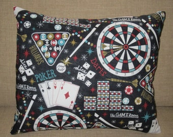 Game Room Pillow, Man Cave Pillow,  Poker Pillow, Billards Pillow, Fathers Day Pillow, Den Pillow, Mens Gift, Dart Pillow, Dice Pillow