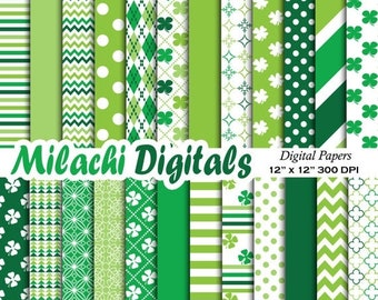60% OFF SALE St. Patrick's Day digital paper, background, scrapbook papers, stripes, chevron, polka dots, clover, shamrock - M297