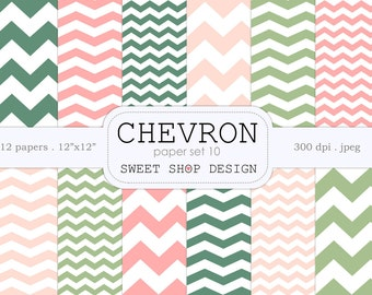 Digital Paper, Printable Scrapbook Paper Pack, 12x12, Chevron N10, Set of 12 Papers