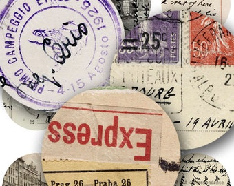 Vintage European Postcards Digital Collage Sheet 1 Inch Circles for Bottlecaps French German Italian Stamps Travel Handwriting piddix 100