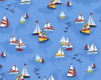 Sailboat Fabric, Timeless Treasures Mini Marina Gail C4638 Blue, Gail Cadden, Nautical Fabric, Ocean Fabric, Sailing Quilt Fabric, Cotton