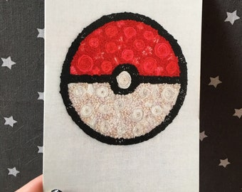 Floral Pop Pokeball Hand Embroidery 4x6 Print Pokemon Fan Art
