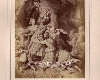 Hobgoblins-Sorcereess Sisters-Children Lost In Woods-Eckart-Poetry-Poem-Goethe-1800's Antique Vintage Art PRINT-Ephemera-Engraving-Gothic