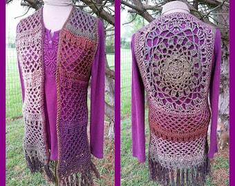 PDF Crochet Pattern for Mandala Hippie Vest Child Teen Adult