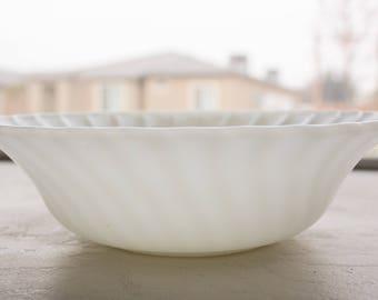 Milk Glass Swirled Bowl, Medium, Anchor Hocking, Fire King
