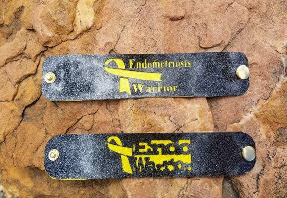Sparkle Vinyl Cuff Bracelet - Layered Endometriosis Awareness Warrior. Choose your style.