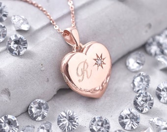 Personalised Genuine Diamond Rose Gold Locket (HBN01 / 38R)