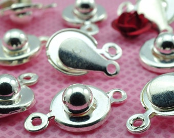50 Sets  of Silver plated button clasps ,Snap Clasp in 9mm wideX 18mm length