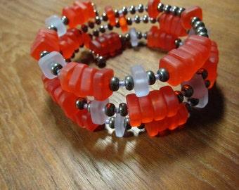 Coral Beach Glass Wrap Bracelet, Pyrite Memory Wire