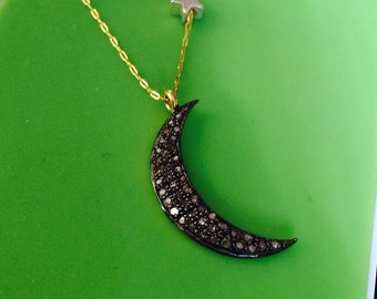 24K gold vermeil champagne diamond pave starry night reversible crescent moon and star necklace