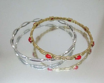 Carolyn Pollack Set of 2 Bracelets Sterling & Brass with Coral Relios Native American