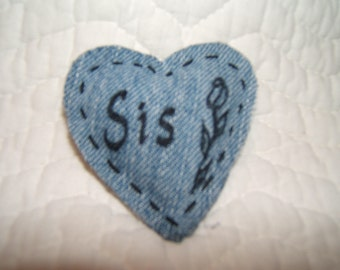 Denim heart magnet, Sis