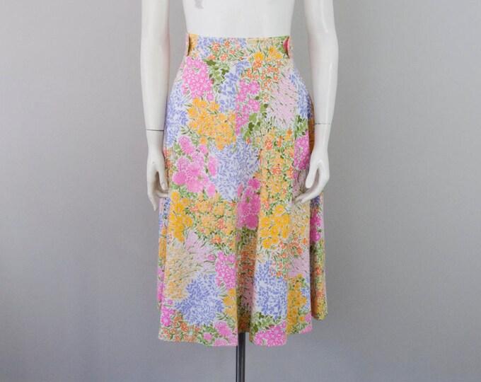 70s Vintage Garden Print Wrap Skirt (M)