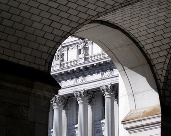 """NYC Architecture - Matted 8"""" x 10"""" Color Photograph New York City Classical Historic Marble Columns Sculpture Manhattan Landmark Urban Photo"""