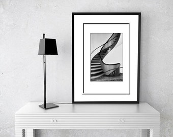 Black & White Photography-Steps-Staircase Photograph-Vertical Print-Fine Art Photography-8x12-Shaker Village-Architecture Photography