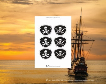 Pirate Eye Patch for Pirate Party Printable Instant Download Crossbones Party Decor