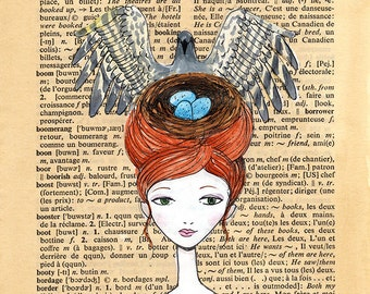 Bird Nest and Bird Headdress - illustration on Dictionary Book Page, Wild Head Piece, Pen and paint, print 5x7