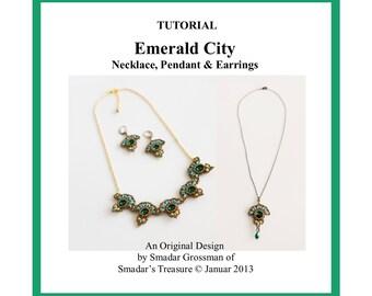 Beading Tutorial, Emerald City Necklace, Pendant, Earrings. Beading Pattern with SuperDuo, Rivoli, Seed Beads. Jewelry Beadwork Pattern