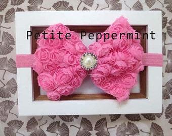 Pink Baby Headband, Baby Flower Headband, Baby Head Band, Baby Hair Bow, Toddler Headband, Little Girl Headband, Infant Headband
