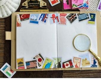 Paper Deco Label Seal Set - Flags - 45 Pcs