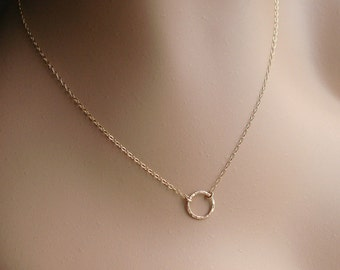 Choker Necklace, Karma Necklace, Tiny Gold Circle, 14k Gold Filled, Hammered Necklace, Handmade, Eternity Ring, Gold Ring, Delicate Necklace