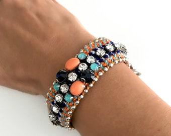Boho Beach 'Classic' Blue and Tangerine Bracelet
