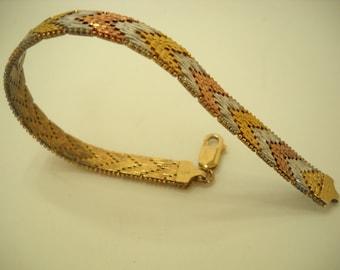 Vintage Sterling (925) Riccio Chevron Bracelet (6292) Italy