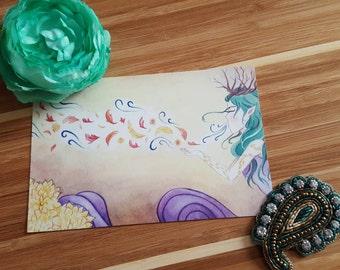 Autumn Faerie Postcard, Watercolor Fairytale Stationary 4x6