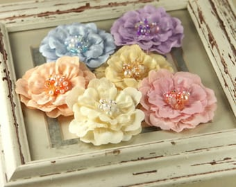 Ceylon - Garden fabric flowers with beaded and pearls on the center