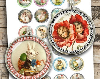 "Victorian Easter Printable Images 25mm 20mm 30mm 1"" 1.5"" Easter Cherubs Bunnies Digital Collage Sheet Instant Download"