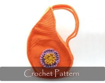 CROCHET PATTERN - Teardrop Shape Crochet Bag Pattern Unique Purse Pattern Handbag Pattern Crochet Bag Pattern with Flower PDF - P0012