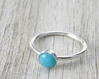 Handmade Natural Amazonite Ring, 6 mm Amazonite Gemstone